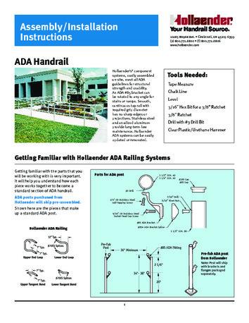 Installation Instructions Hollaender Mfg Co